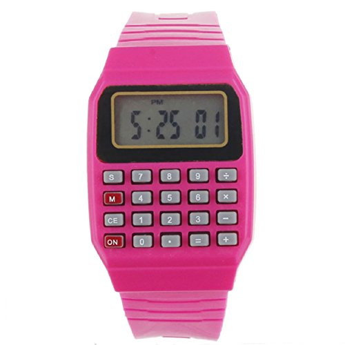 Wrist Calculator,Lookatool Unsex Silicone Multi-Purpose Date Time Electronic Wrist Calculator Watch Red