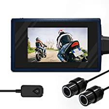 "Motorcycle Camera Recorder System Waterproof Front and Rear Dual 1080P HD Dash Cam Motorbike DVR Sports Action Camera Video Recording with Microphone 2.7"" LCD Screen WiFi Support SD Card (Standard)"
