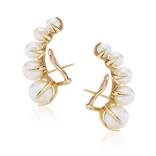 SLUYNZ 925 Sterling Silver Shell Pearl Clip Ons Earrings for Women Yellow Gold Clip Ons Earrings (Color 2)