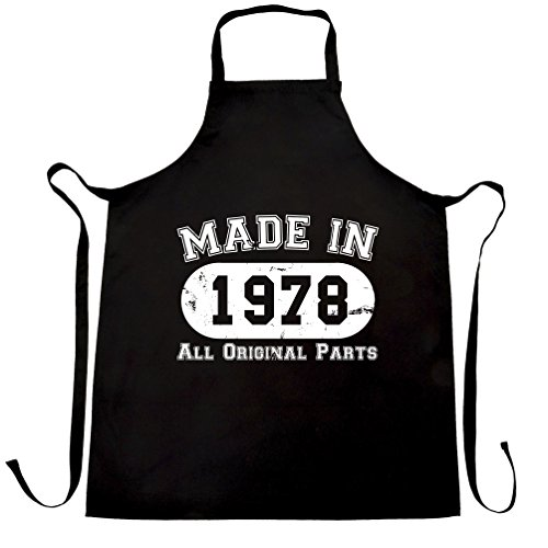 40th Birthday Apron Cook Made in 1978 Distressed Fortieth All Original Parts Black One Size -