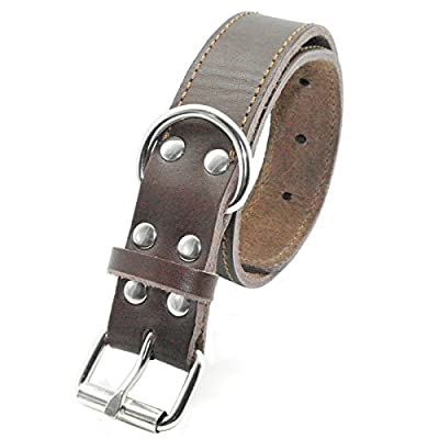 Beirui Brown Black Genuine Leather Dog Collars for Medium and Large Dogs