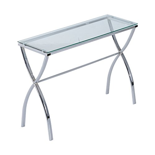 HomCom Contemporary Modern Chrome Glass Console Table for Entryway and Hallway Review