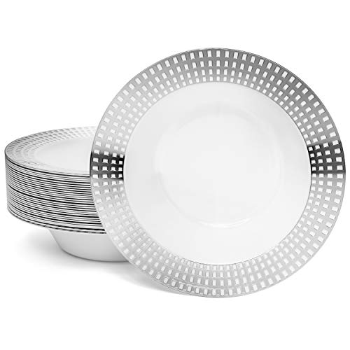 Perfect Settings Princess Silver Series Plastic Bowls - 12 oz Heavy Duty Disposable Dinnerware Soup Bowls | Silver Square Rimmed Pattern | 30 Bowls