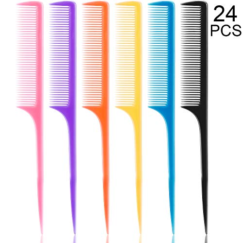 (24 Pieces Plastic Rat Tail Combs 8.5 Inch Fine-tooth Hair Combs Pin Tail Hair Styling Combs with Thin and Long Handle, Assorted Colors)