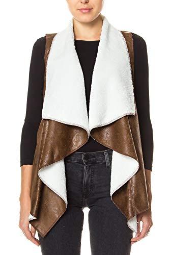 (KAYLYN KAYDEN KLKD C002 Women's KLKD Women's Faux Fur Suede Shearling Vest, Brown,)