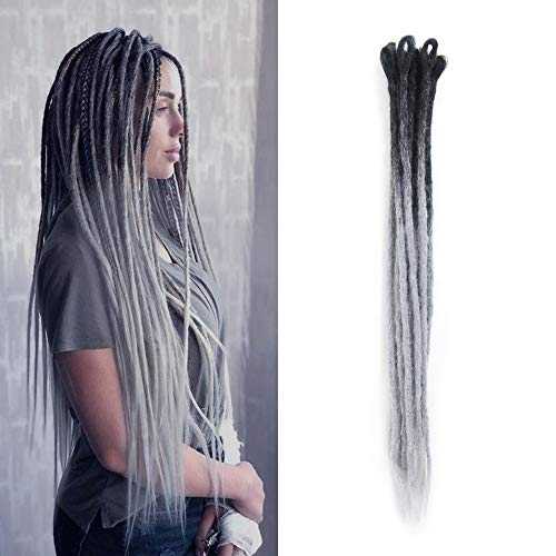 Dsoar 24 Inch Ombre Dreadlock Extensions Handmade Synthetic Dreads 10 Strands/Pack Dreads Crochet Locs Hair (Ombre Black to Grey)