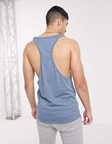 ルブレーブ タンクトップ ノースリーブ アームホール メンズ Le Breve racer back vest in blueRRP [並行輸入品]