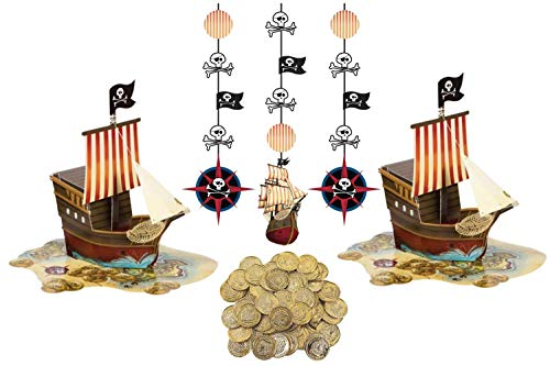 Pirate Birthday Party Decorations- Pirate Party Supplies 2 Pop Up Pirate Ship Centerpieces, 50 Treasure Loot Pieces and Hanging Decorations