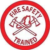 NMC HH72 2'' x 2'' PS Vinyl Hard Hat Emblem w/Legend: ''Fire Safety Trained'', 12 Packs of 25 pcs