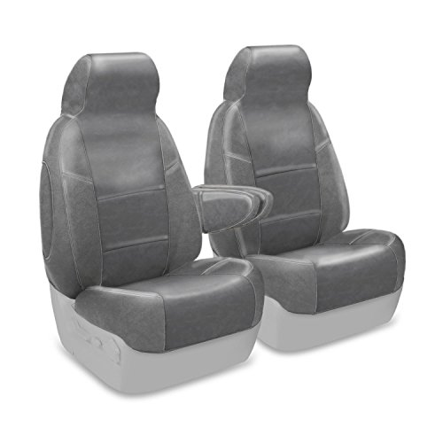 Coverking Custom Fit Front 50/50 High Back Bucket Seat Cover for Select Ford Bronco Models - Premium Leatherette Solid (Medium Gray)