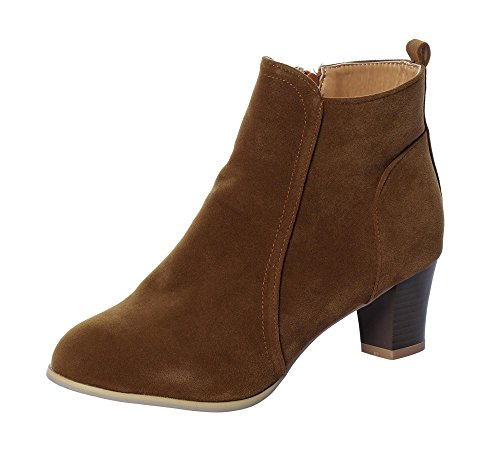 Square Covered Buckle (Serene Womens Vintage Suede Leather Chunky Stacked Heeled Zipper Ankle Booties Ladies Boots (10 B(M)US,)