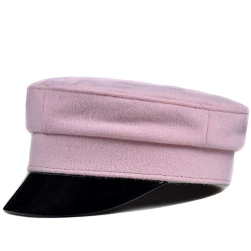 Fashion Genuine Patent Leather Woollen Cloth Navy Hat for Women Cashmere Pink/Grey/Black Fittd Flat Caps