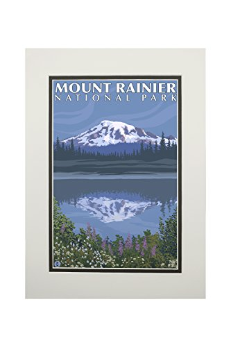 Mount Rainier, Washington - Reflection Lake (11x14 Double-Matted Art Print, Wall Decor Ready to Frame)
