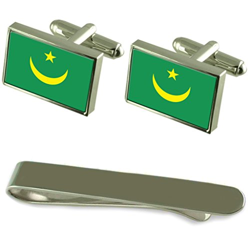 Mauritania Flag Silver Cufflinks Tie Clip Engraved Gift Set by Select Gifts