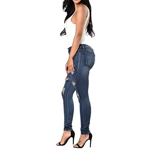 Denim Blue Blue Hole Jeans Fashion Trousers Size Jeans Jeans Size Femme L Color Plus RxA0S1p