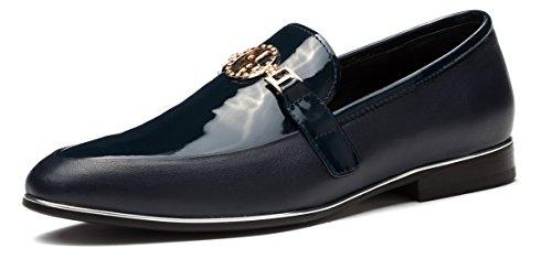 Azul Loafer Hombres Flat piel Bit detalle metal del Formal OPP Zapatos Suave ItPqTwRR