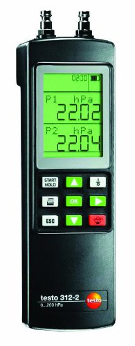 Testo 0632 0313 ABS Auto-Ranging Digital Manometer, 40/200 hPa Range, LCD Display (Hpa Lcd)