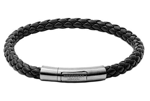 Tateossian Tubo Charles Taito Silver Bracelet - Black, Medium 18cm