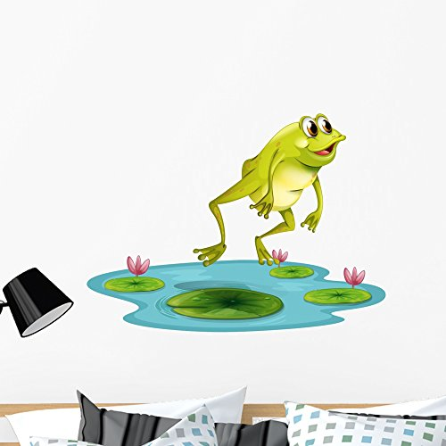 (Wallmonkeys Jumping Frog Pond Wall Decal Peel and Stick Graphic (36 in W x 28 in H) WM245789)
