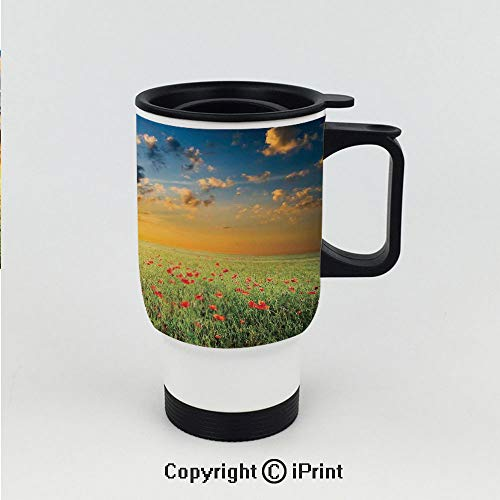 Stainless Steel car cup,Freshening Sky View with Grass and Poppies against Sunset Horizon Countryside,Double Wall Stainless Steel Vacuum ()