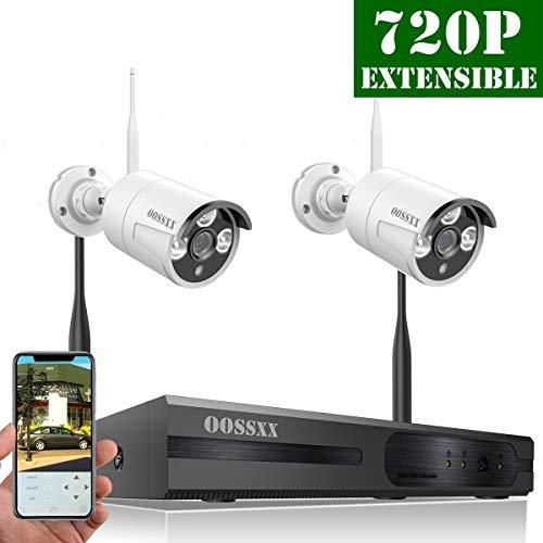 【2018 Update】 HD 960P 4-Channel OOSSXX Wireless System/IP Security Camera System 2Pcs 720P(1.0 Megapixel) Wireless Indoor/Outdoor IR Bullet IP Cameras,P2P,App]()