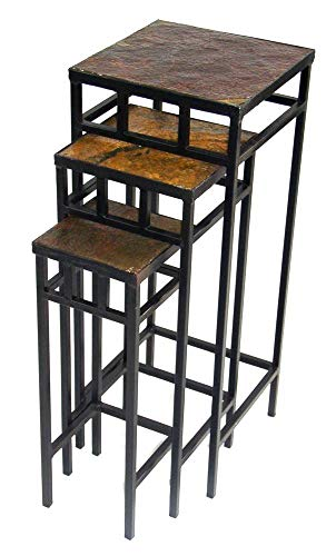 (4D Concepts 3-Piece Slate Square Plant Stands with Slate Tops, Metal/Slate)
