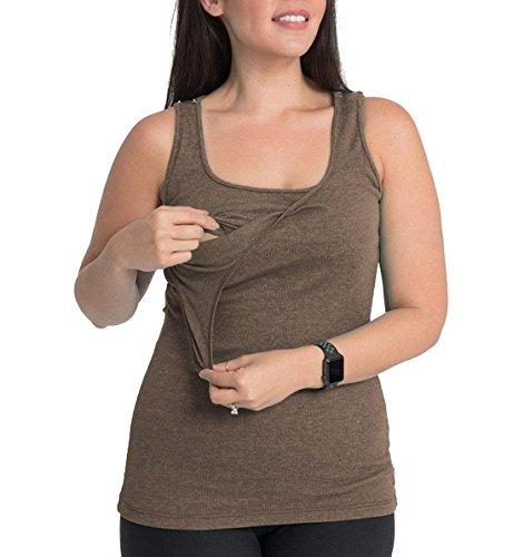 BUN 100% Cotton Maternity/Nursing Tank,XL 14-16,Smokey Brown - 100% Cotton Nursing Top