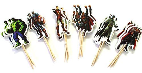 24pc - Avengers Theme Party Cupcake Toppers for