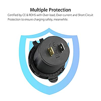 Linkstyle 12V 4.2A Dual USB Charger Socket Power Outlet with LED Digital Display Voltmeter, Waterproof Dual Charging Ports for 12V/24V Car RV Boat Marine Motorcycle Mobile- Blue