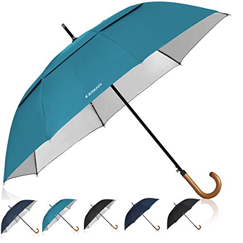 ZEKAR Wooden J-Handle Umbrella, 54/62/68 inch, UV & Classic Versions, Large Windproof Stick Umbrella, Auto Open for Men and Women ()