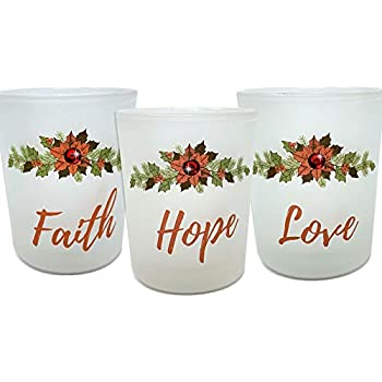 BANBERRY DESIGNS Faith, Hope and Love Candle Holders - Set of 3 Frosted Glass Votive Holders with Red Christmas Poinsettia Design - White LED Tealight Candles Included