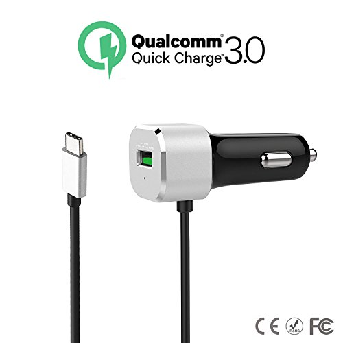 DLG Quick Charge 3.0 USB Type C 3.3 Ft Qualcomm Car Charger,1 USB Port fast charge Adapter with 1 type-C port for Nexus 6P/5X,LG G5,HTC 10,Lumia 950/950XL,Oneplus 2,Apple Macbook 12''&More