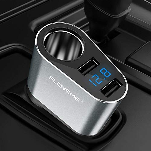 FLOVEME Dual USB Car Charger with Voltage Monitor Cigarette Lighter Socket Splitter 5V 3.1A Fast Charge Car Charger Adapter Compatible for iPhone Xs Max/XR/X/7Plus/8 Samsung Note 9/8/S9 and More