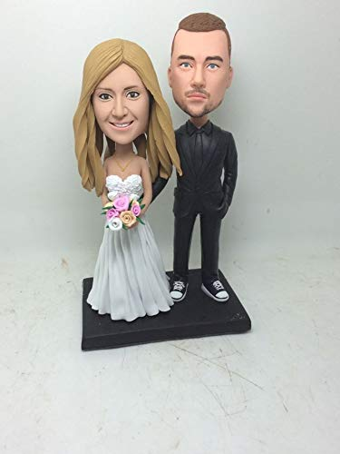 Personalized Wedding Cake Topper Custom Bobble Head Clay Figurine Based on Customers' Photo Wedding Topper Wedding Gift Wedding Decorations (2) (2 Bobble Custom Head)