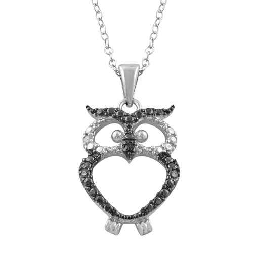 Two-Tone Sterling Silver With Diamond Accent Owl Necklace (0.016 cttw, 18 inch)