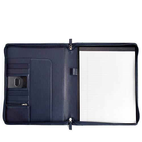 Leatherology Classic Zippered Padfolio - Full Grain Leather - Navy (blue) -
