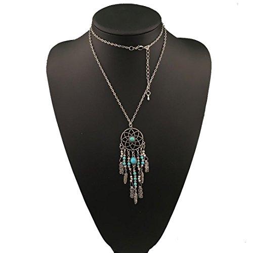 [Usstore Women Vintage Necklace Bohemian Ethnic Merry Su Dreamcatcher Pendants Partty Gift Alloy] (Vintage Costume Jewelry Lot)