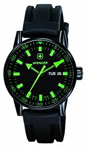 Wenger 70172 - Reloj de caballero de cuarzo, correa de goma color negro