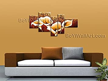 Amazon HUGE Multi Panel Canvas Wall Art Modern Abstract Oil Painting Lily Flower Signed Original By Bo Yi Studio 78 X 40 Paintings