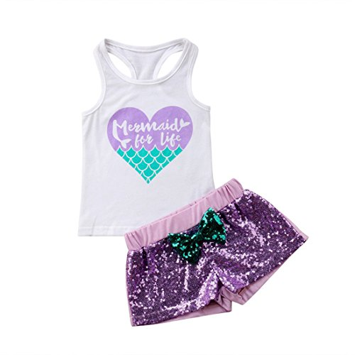 2Pcs Baby Girl Clothes Set Toddler Vest Top + Tassels Short Pants Cartoon Outfit Summer (Mermaid, (Vest Top Pants)