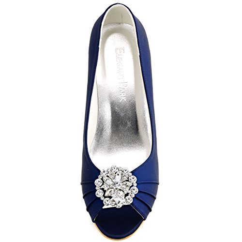 ElegantPark EP2009AH Women Peep Toe High Heels AH01 Removable Shoe Clips Satin Wedges Wedding Court Shoes Ah Navy Blue xRxIe2t5