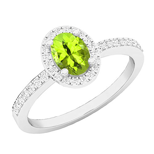 Dazzlingrock Collection 10K 7X5 MM Oval Peridot & Round Diamond Ladies Halo Engagement Ring, White Gold, Size 8