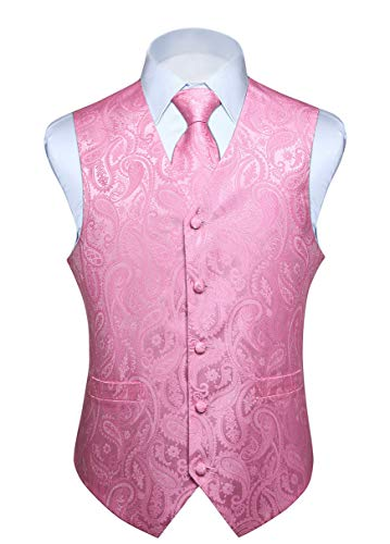 (HISDERN Men's Paisley Jacquard Solid Waistcoat & Necktie and Pocket Square Vest Suit Tuxedo Set Pink)