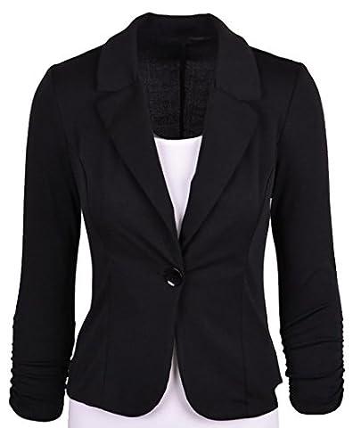 ARRIVE GUIDE Womens Slim One Button Lapel Work Office Blazer Jacket Coat Black L (Office Coat)