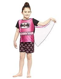 Girls 2-Piece Pajamas Set,Top & Shorts with Cape