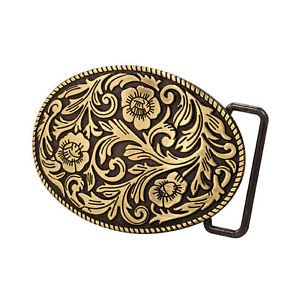 [Bronze Cowgirl Girly Flowers Western Ornate Belt Buckle Southern Abstract Cool] (Abstract Belt Buckle)