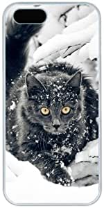 Black Cat In Snow Retro Vintage Apple iPhone 5c 5c Case, iPhone 5c Hard Shell White Cover Cases by iCustomonline