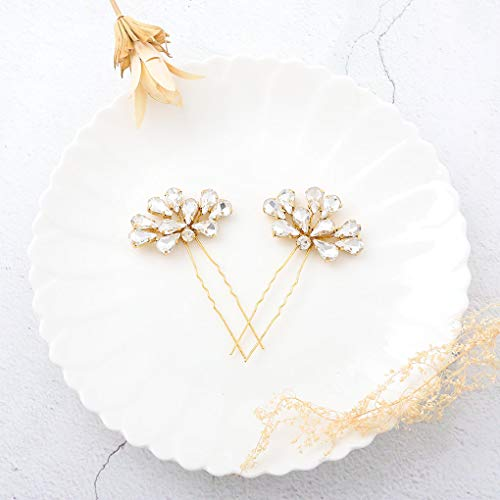 CanB Wedding Bridal Hair Pins Rhinestone Decorative Hair Pin Hair Accessories for Brides and Bridemaids Pack of 3 (Gold) ()
