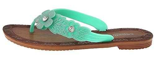 Capelli New York Damer Mode Flip Flops Med Blomma Och Pärla Trim Mint