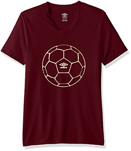 Umbro Girls Football Gold Poly Short Sleeve Top, Coral Canyon, Small Canyon Coral